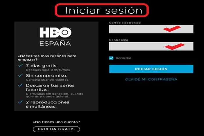 hbo iniciar sesion